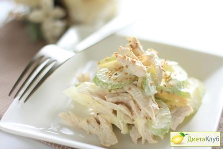 Мясной диетический салат из сельдерея